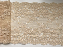"Coffee Skintone  Nude Delicate Clipped Bridal Lace Wide 7.5""/19 cm"