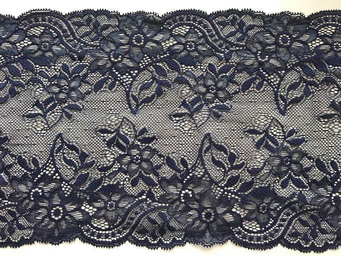 Navy Blue Stretch Soft Lace Trim 16.5 cm/6.5