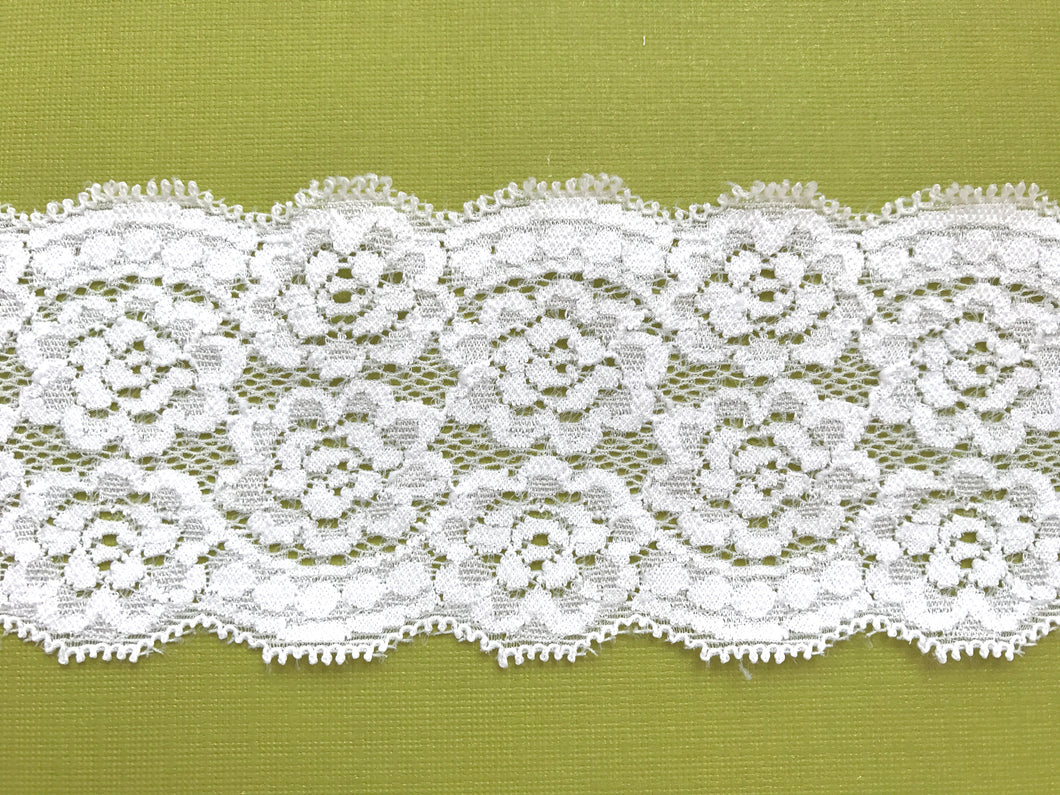Ivory Stretch Galloon Nottingham Lace 6.5 cm/2.5
