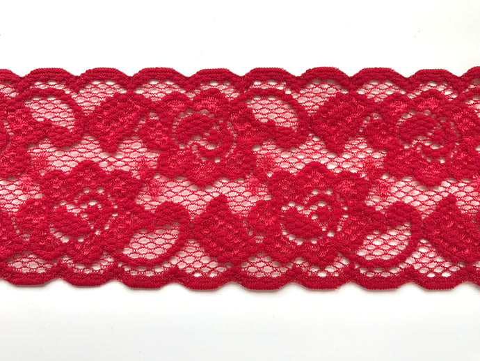 Red Stretch Scalloped  Nottingham Lace 7 cm/2.5