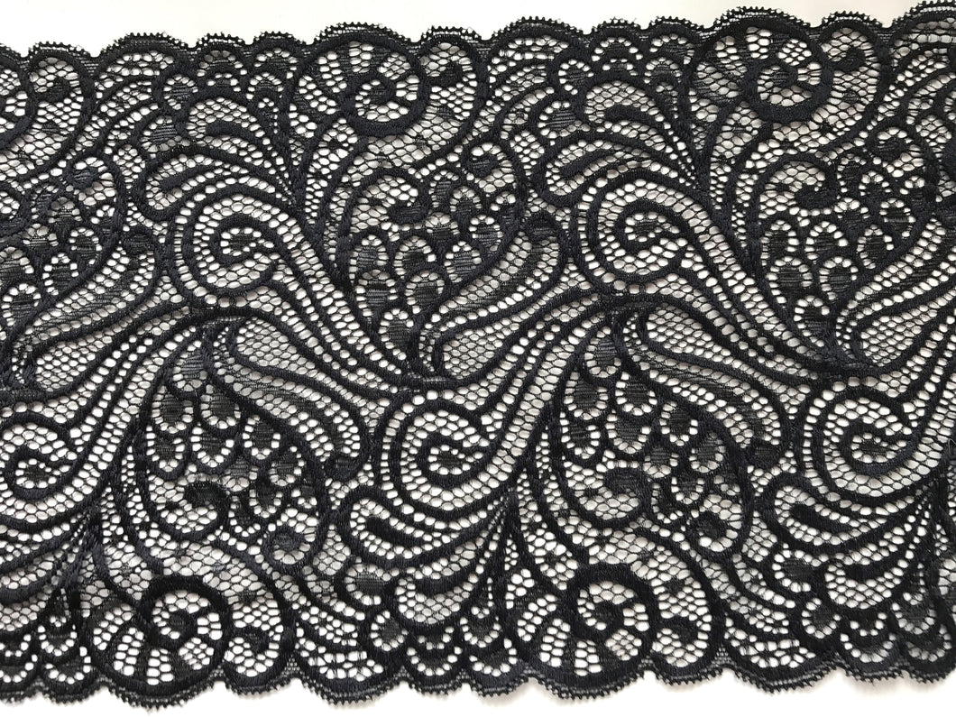 Black Silky Soft Stretch French Lace Trim 17/7