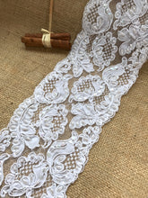 White Alencon Bead, Sequin & Corded French Lace 12.5 cm