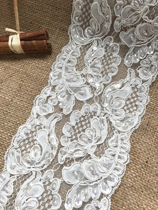 Ivory Alencon Bead, Sequin & Corded French Lace 12.5 cm