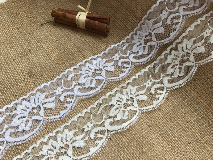 Ivory or White Rose Scalloped Nottingham Lace  5cm/2