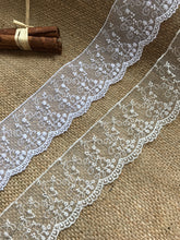 "Delicate Embroidered Tulle Bridal Lace Trim 5 cm/2"" White and Ivory"