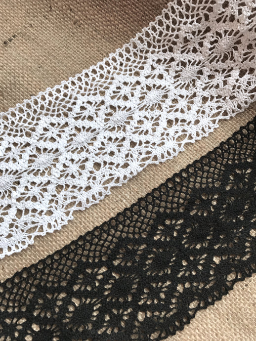 Premium Nottingham Cotton Crochet Cluny Lace  White & Black  11cm