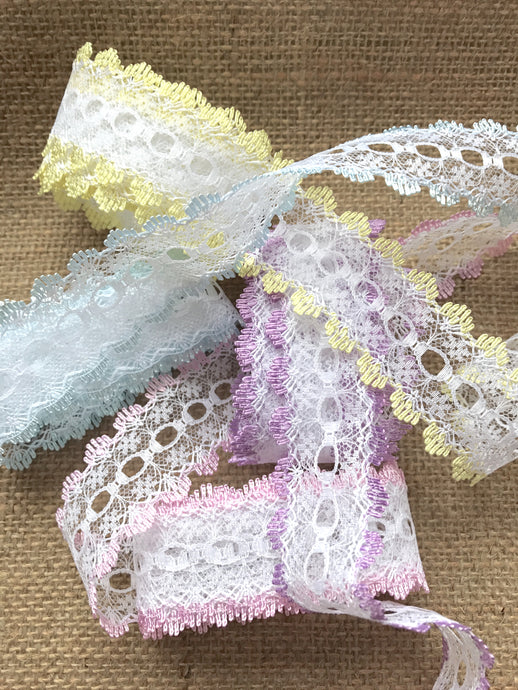 Eyelet Knitting in Lace Dovecraft White Cream Pink Blue Mint Peach Iridescent Rainbow Lilac Lemon Turquoise Orange Purple