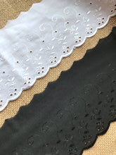 Quality Cotton White, Cream or Black  Broderie Anglaise Lace Trim 4""