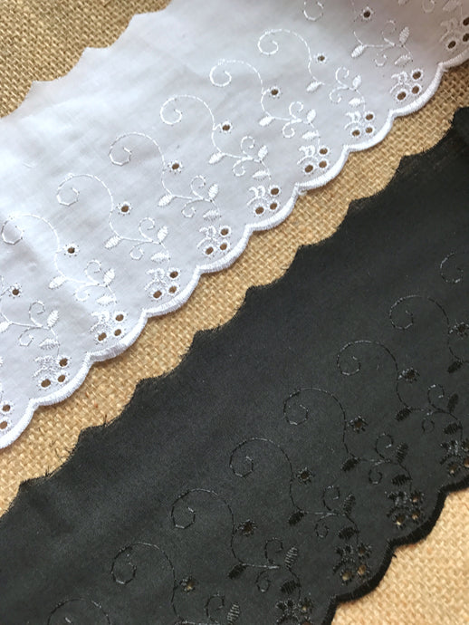 Quality Cotton White, Cream or Black  Broderie Anglaise Lace Trim 4