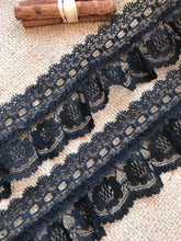 Pretty Black Gathered Lace (with ribbon slot) 6.5 cm/2.5""