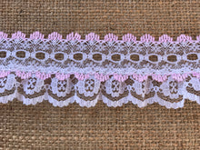 Pretty White with Pink Gathered Lace (with ribbon slot) 6.5 cm/2.5""