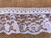 Pretty White & Silver Gathered Lace 5 cm/2""