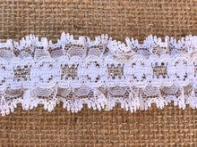 Pretty White with Silver Gathered Lace (with ribbon slot effect) 3.3 cm/1.25""