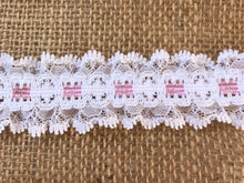 Pretty White with Pink Gathered Lace (with ribbon slot effect) 3.3 cm/1.25""