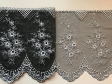 Stunning Delicate Black/Silver Embroidered French Tulle 20 cm/8""