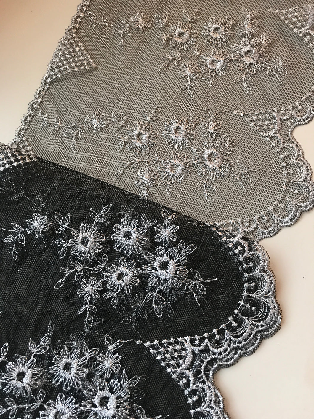 Stunning Delicate Black/Silver Embroidered French Tulle 20 cm/8