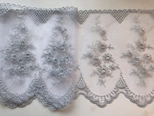 Stunning Delicate Silver Embroidered French Tulle 20 cm/8""