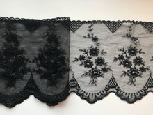 Stunning Delicate Black Embroidered French Tulle 20 cm/8""