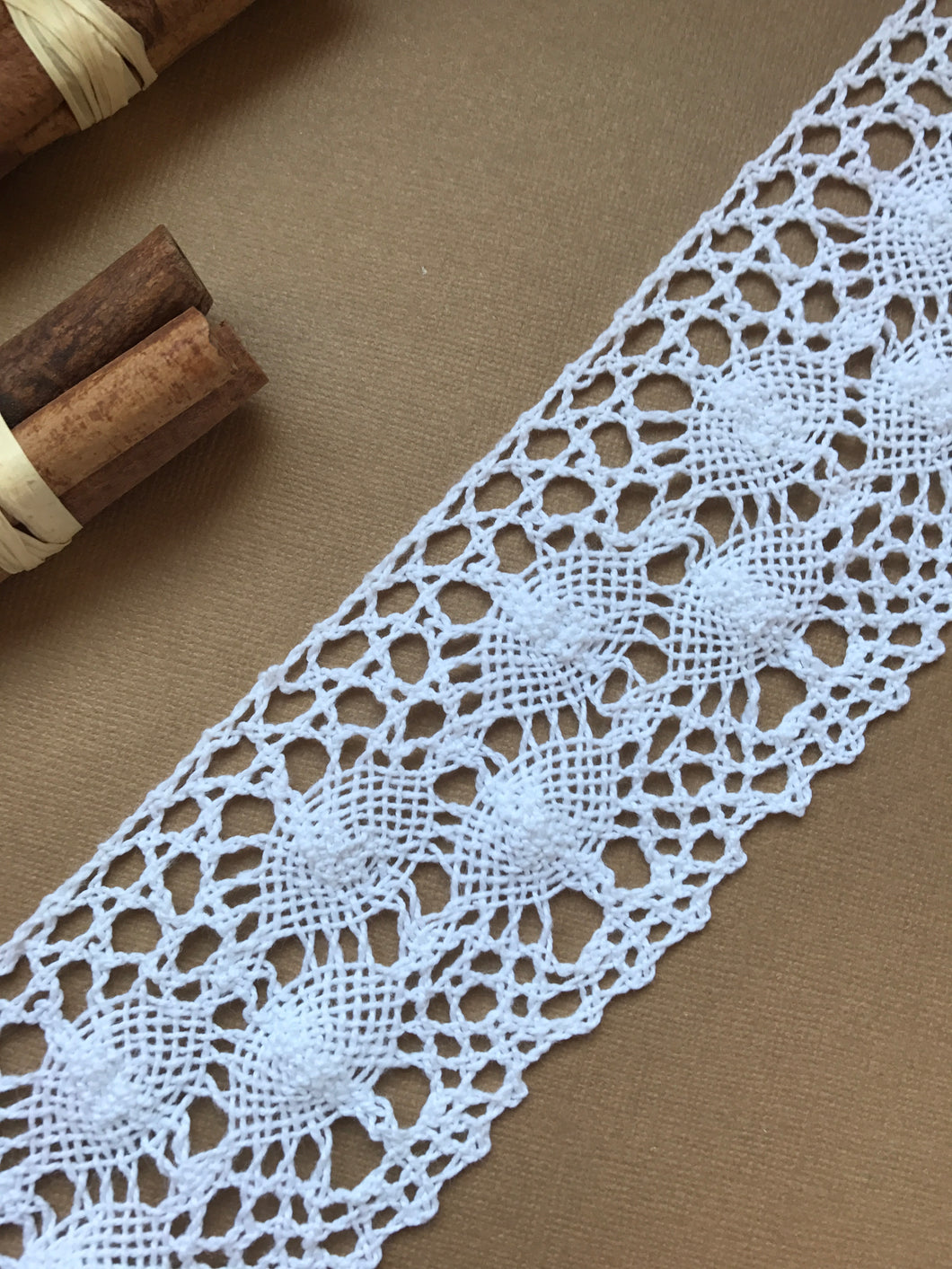 White Cotton Crochet Premium Nottingham Cluny Lace  75mm/3