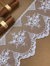 Stunning Delicate White Embroidered French Tulle 12.5 cm