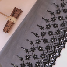 Black Embroidered Voile Scalloped Lace 15 cm/6""