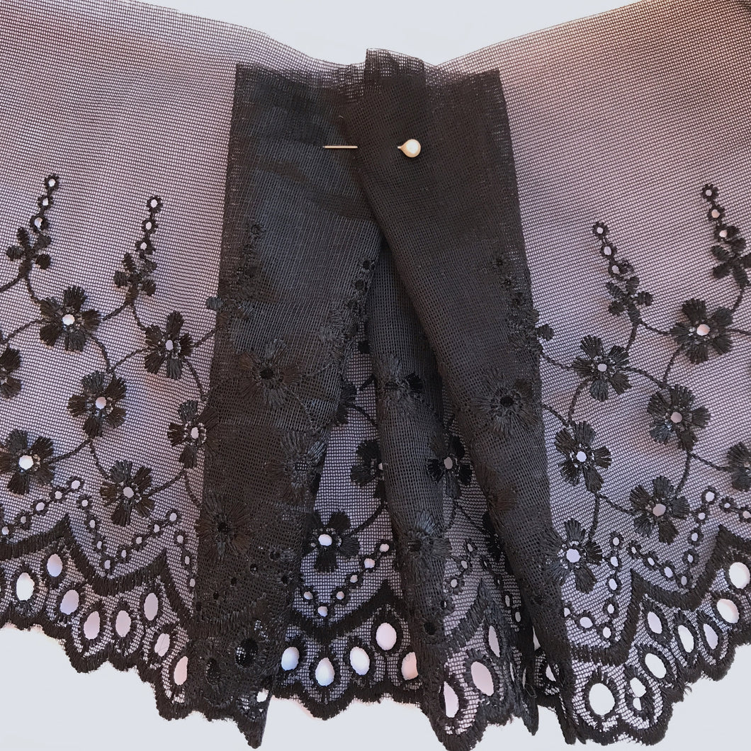 Black Embroidered Voile Scalloped Lace 15 cm/6