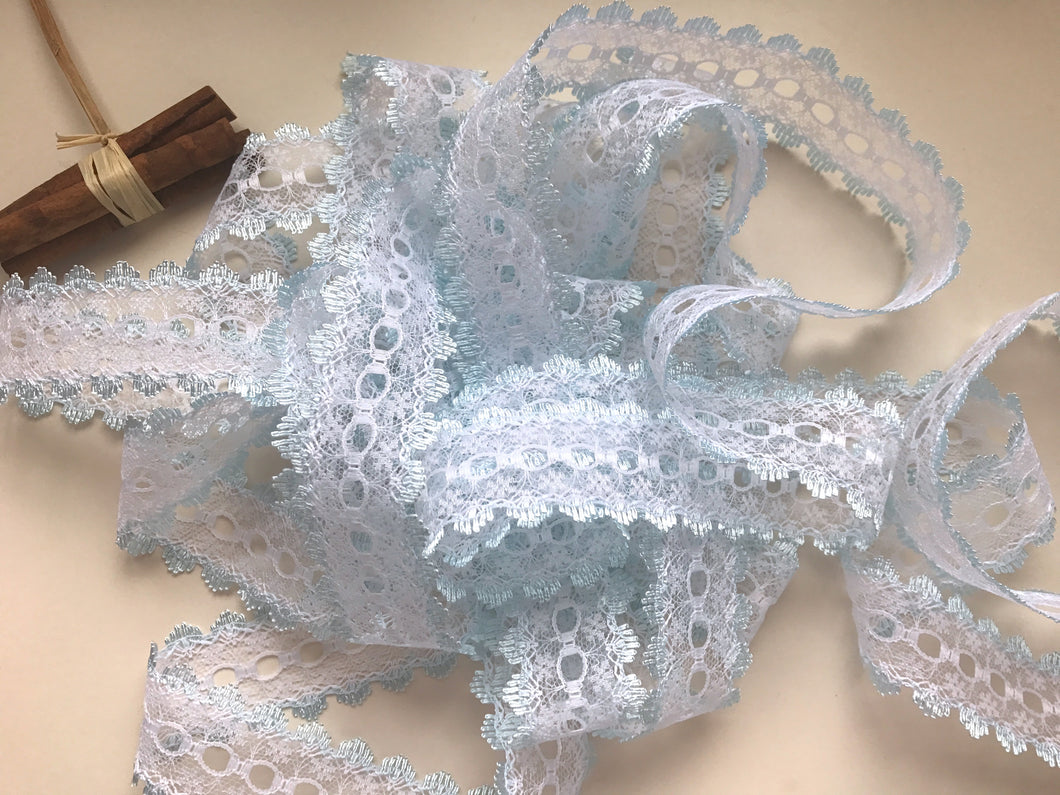 White/Blue Eyelet Knitting in Lace 35mm