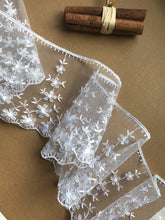 Delicate White Embroidered Tulle Bridal Lace Trim 9 cm/3.5 inch