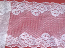 White Stretch Wide French  Lace 23cm / 9`'