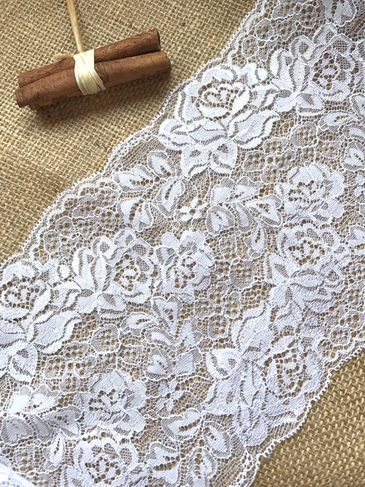 Beautiful White Delicate French Rose Lace 17cm/6.75
