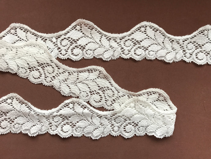 Ivory Soft Stretch French Cut-Out Lace 5 cm/2