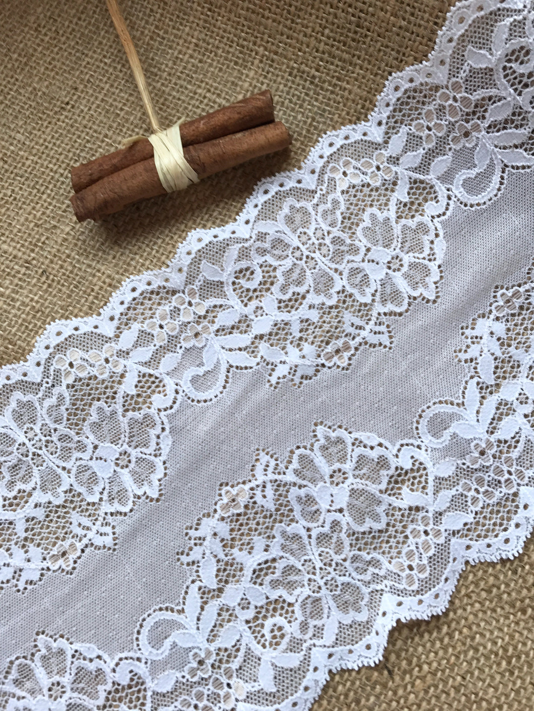 Beautiful White Stretch French Lace 16.5 cm/6.5