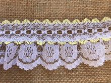 Pretty White with Lemon Gathered Lace (with ribbon slot) 6.5 cm/2.5""