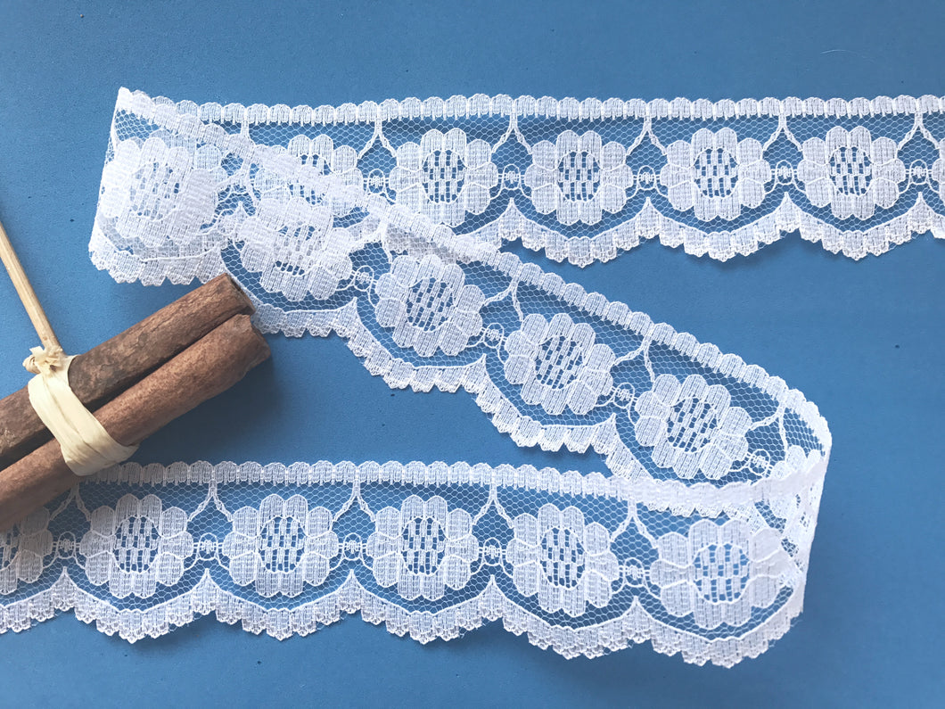 Pretty White Nottingham Lace 4 cm/1.5
