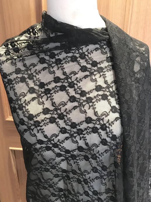 Black Stretch Nottingham Allover Lace Fabric  160/165  cm