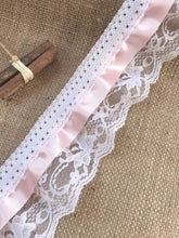 Pretty White/Pink Gathered Lace (Three tier with satin ribbon) 9 cm/3.5""