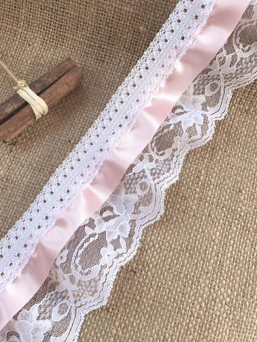 Pretty White/Pink Gathered Lace (Three tier with satin ribbon) 9 cm/3.5