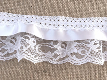 Pretty White Gathered Lace (Three tier with satin ribbon) 9 cm/3.5""