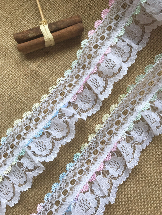 Pretty White with Rainbow Gathered Lace (with ribbon slot) 6.5 cm/2.5