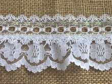 Pretty White with Iridescent Gathered Lace (with ribbon slot) 6.5 cm/2.5""