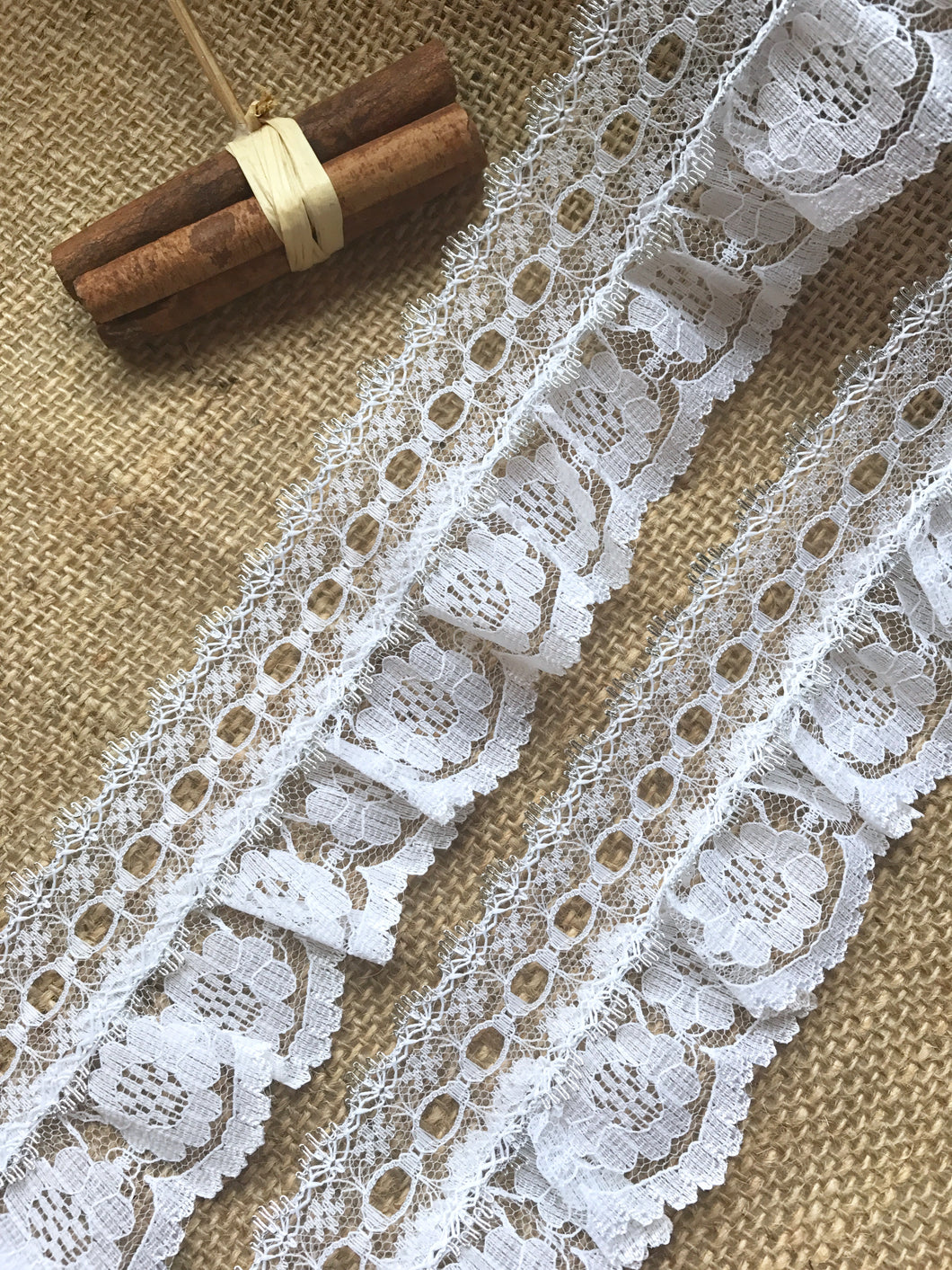 Pretty White with Silver Gathered Lace (with ribbon slot) 6.5 cm/2.5