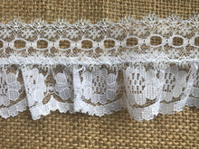 Pretty White with Silver Gathered Lace (with ribbon slot) 6.5 cm/2.5""