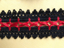 Black/Red Cotton Lace with ribbon Lacing  4.5 cm/1.75""