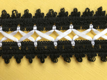 Black/White Cotton Lace with ribbon Lacing  4.5 cm/1.75""