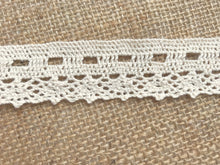 "Natural Ecru Premium Nottingham Cotton Ribbon Slot  Lace  1.25""/3 cm"
