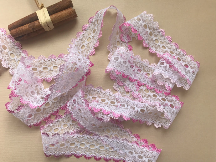 *NEW COLOUR* Pink Ombre  Eyelet Knitting in Lace 35mm