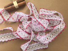 *NEW COLOUR* Bright Pink Ombre  Eyelet Knitting in Lace 35mm