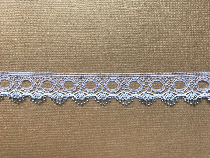 *NEW* Single Edge White/Silver Eyelet Knitting in Lace 18 mm