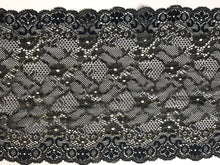 Wide Black/Gold Metallic Delicate Stretch Lace  18cm/7""