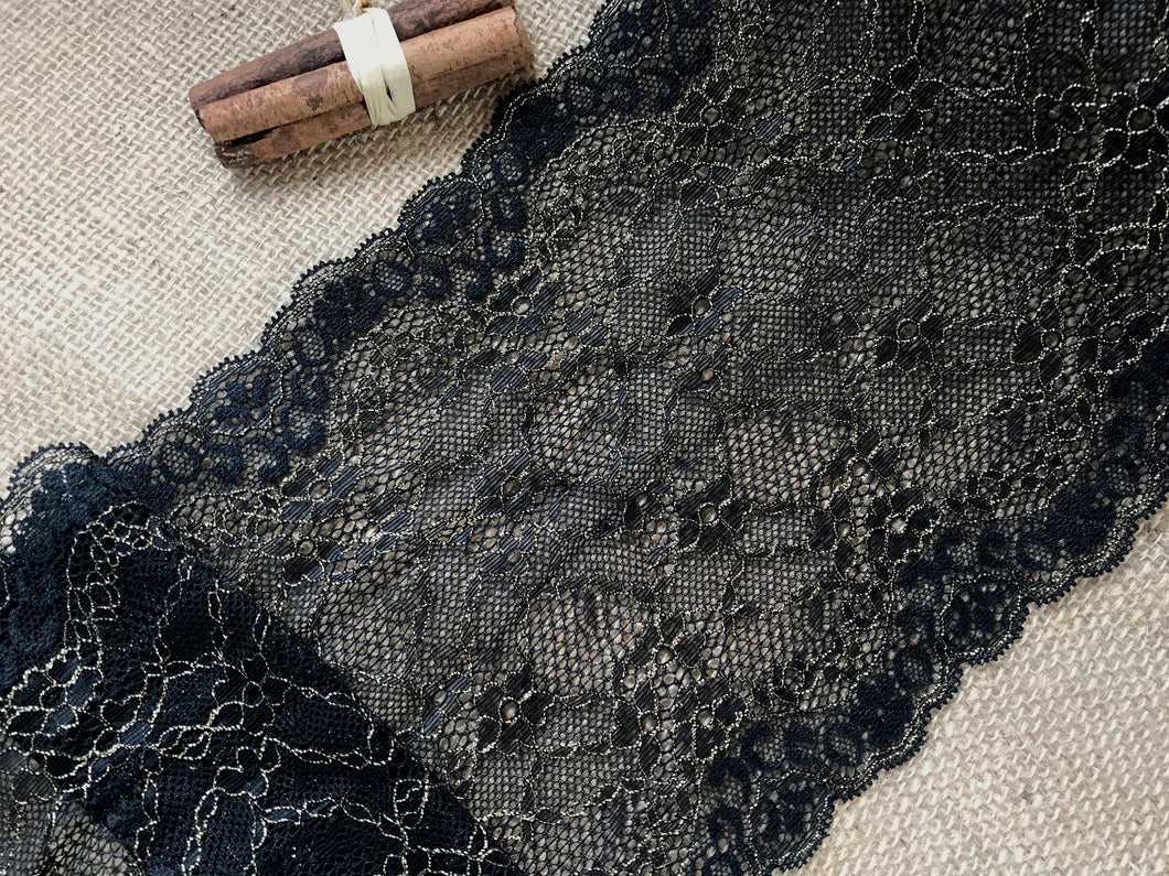Wide Black/Gold Metallic Delicate Stretch Lace  18cm/7